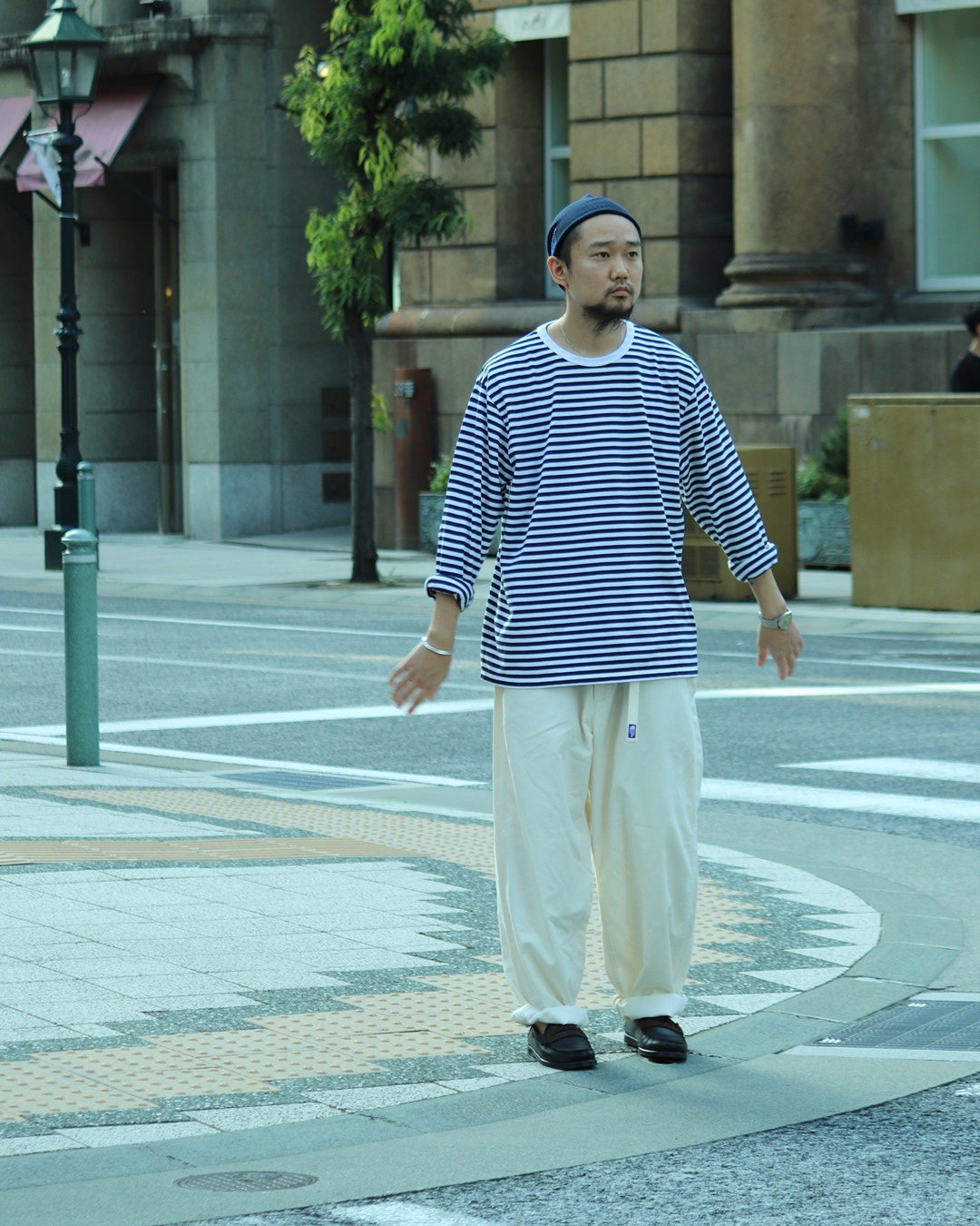 nanamica Stripe Tee and THE NORTH FACE PURPLE LABEL Wide Tapered Pants