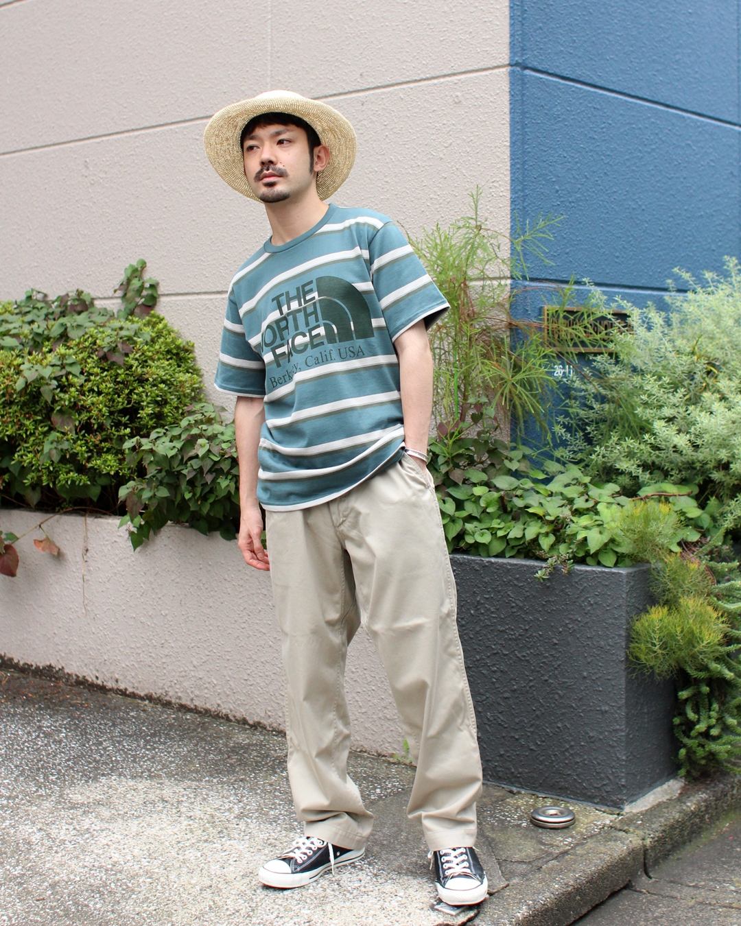 THE NORTH FACE PURPLE LABEL Stirped H/S Logo Tee and nanamica Wide Chino Pants