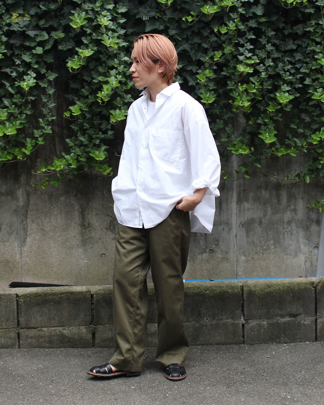 nanamica Regular Collar Shirt and Wide Chino Pants