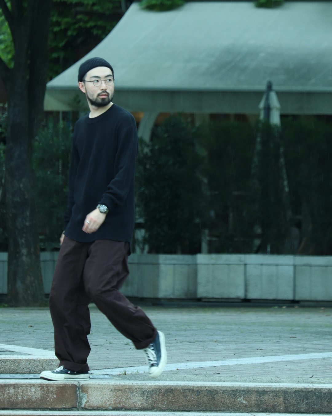 nanamica Crew Neck Thermal Tee and THE NORTH FACE PURPLE LABEL Ripstop Shirred Waist Pants